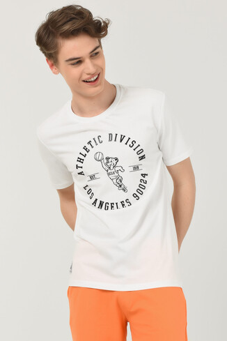 UCLA - ADELANTO Beyaz Bisiklet Yaka Baskılı Erkek T-shirt