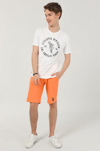 ADELANTO Beyaz Bisiklet Yaka Baskılı Erkek T-shirt - Thumbnail (2)