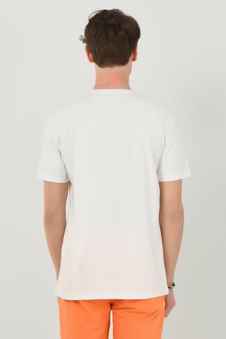 ADELANTO Beyaz Bisiklet Yaka Baskılı Erkek T-shirt - Thumbnail (3)