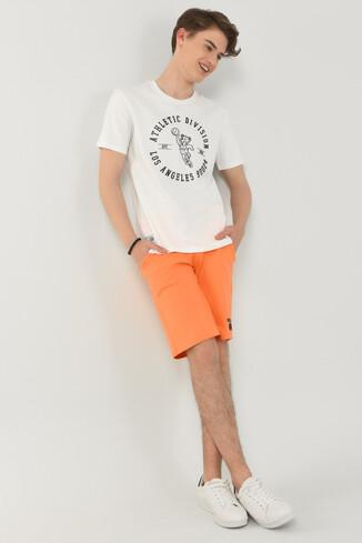 ADELANTO Beyaz Bisiklet Yaka Baskılı Erkek T-shirt - Thumbnail (4)