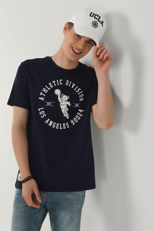 ADELANTO Lacivert Bisiklet Yaka Baskılı Erkek T-shirt - Thumbnail
