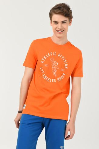 UCLA - ADELANTO Turuncu Bisiklet Yaka Baskılı Erkek T-shirt