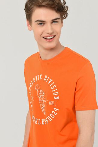 UCLA - ADELANTO Turuncu Bisiklet Yaka Baskılı Erkek T-shirt (1)