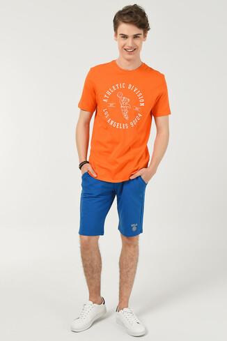 ADELANTO Turuncu Bisiklet Yaka Baskılı Erkek T-shirt - Thumbnail (2)