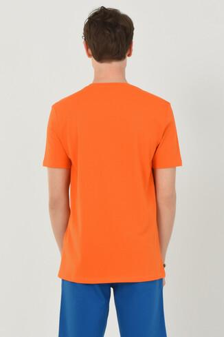 ADELANTO Turuncu Bisiklet Yaka Baskılı Erkek T-shirt - Thumbnail (3)