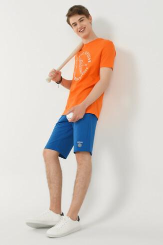 ADELANTO Turuncu Bisiklet Yaka Baskılı Erkek T-shirt - Thumbnail (4)