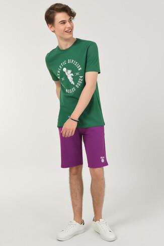 UCLA - ADELANTO Yeşil Bisiklet Yaka Baskılı Erkek T-shirt
