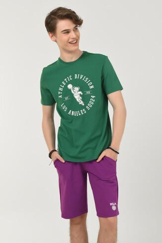 UCLA - ADELANTO Yeşil Bisiklet Yaka Baskılı Erkek T-shirt (1)