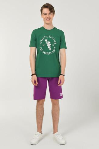 ADELANTO Yeşil Bisiklet Yaka Baskılı Erkek T-shirt - Thumbnail (2)