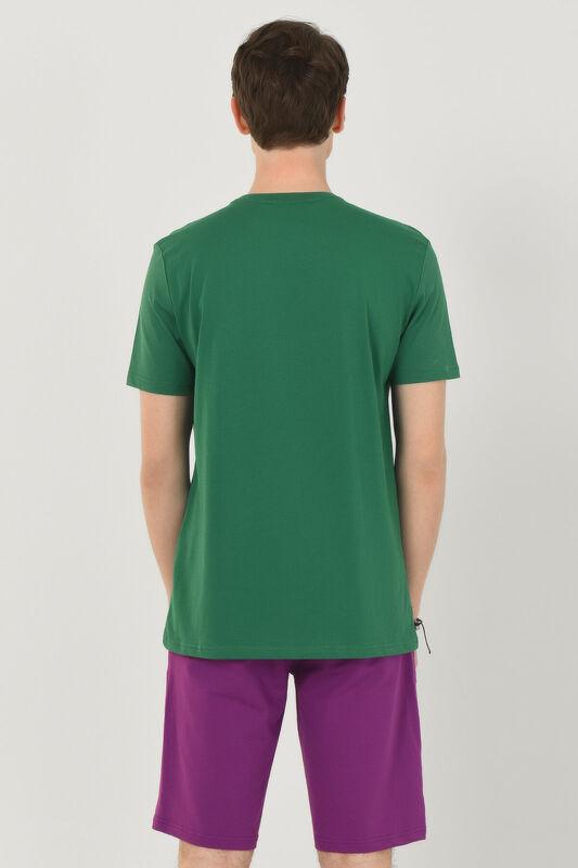 ADELANTO Yeşil Bisiklet Yaka Baskılı Erkek T-shirt - Thumbnail