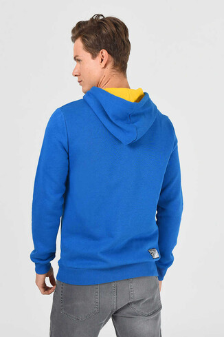 ALTO Mavi Kapüşonlu Baskılı Erkek Sweatshirt - Thumbnail (3)