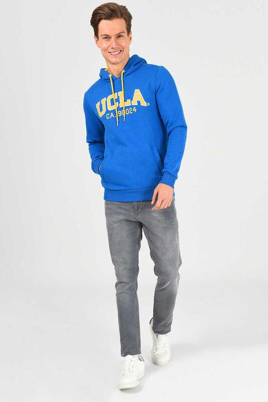 ALTO Mavi Kapüşonlu Baskılı Erkek Sweatshirt - Thumbnail