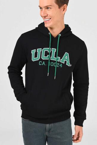 UCLA - ALTO Siyah Kapüşonlu Baskılı Erkek Sweatshirt