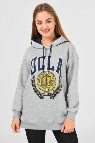 UCLA - AMADOR Gri Kapüşonlu Baskılı Kadın Sweatshirt