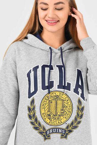 UCLA - AMADOR Gri Kapüşonlu Baskılı Kadın Sweatshirt (1)