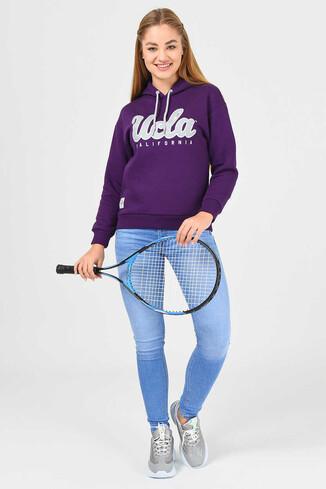 UCLA - ANGELES Mor Kapüşonlu Baskılı Kadın Sweatshirt