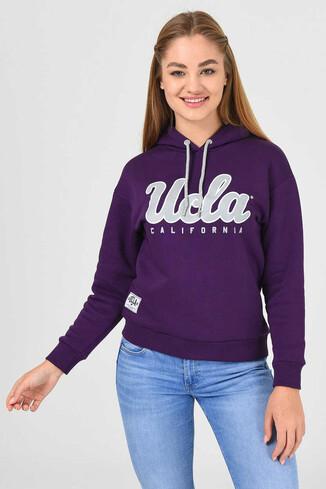 UCLA - ANGELES Mor Kapüşonlu Baskılı Kadın Sweatshirt (1)