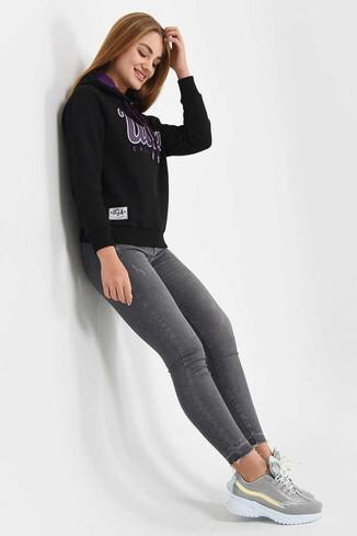 UCLA - ANGELES Siyah Kapüşonlu Baskılı Kadın Sweatshirt