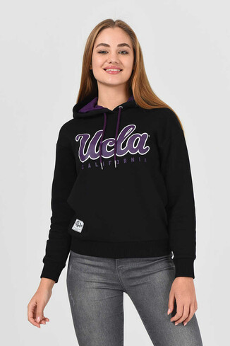 UCLA - ANGELES Siyah Kapüşonlu Baskılı Kadın Sweatshirt (1)
