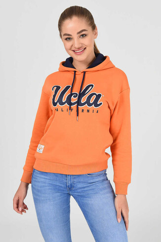 UCLA - ANGELES Turuncu Kapüşonlu Baskılı Kadın Sweatshirt