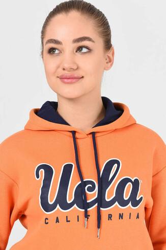 UCLA - ANGELES Turuncu Kapüşonlu Baskılı Kadın Sweatshirt (1)