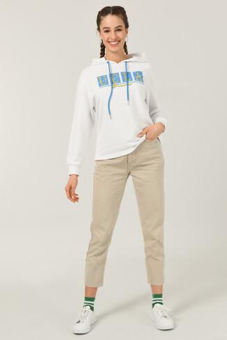 APPLE Beyaz Oversize Kapüşonlu Baskılı Kadın Sweatshirt - Thumbnail (2)