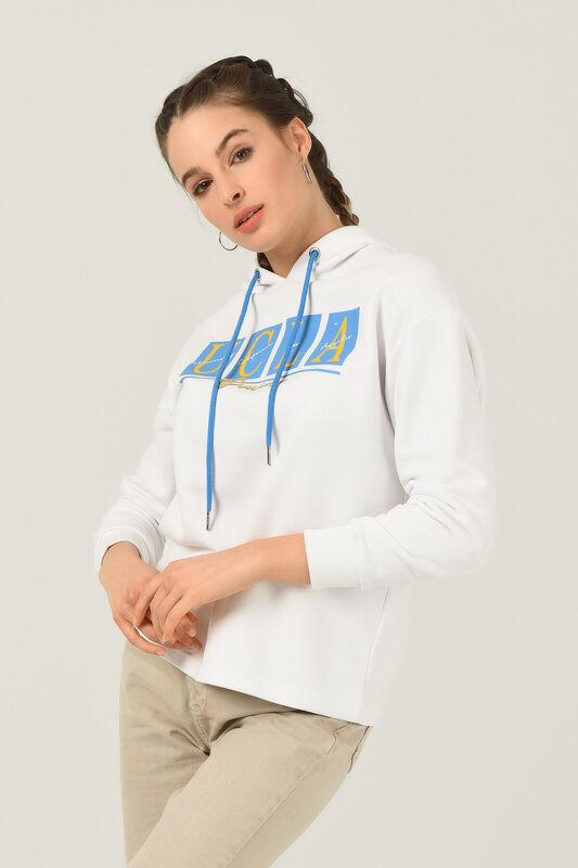 APPLE Beyaz Oversize Kapüşonlu Baskılı Kadın Sweatshirt - Thumbnail
