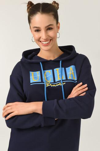 UCLA - APPLE Lacivert Oversize Kapüşonlu Baskılı Kadın Sweatshirt