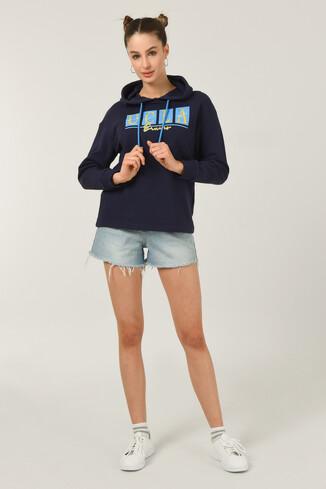 APPLE Lacivert Oversize Kapüşonlu Baskılı Kadın Sweatshirt - Thumbnail (2)
