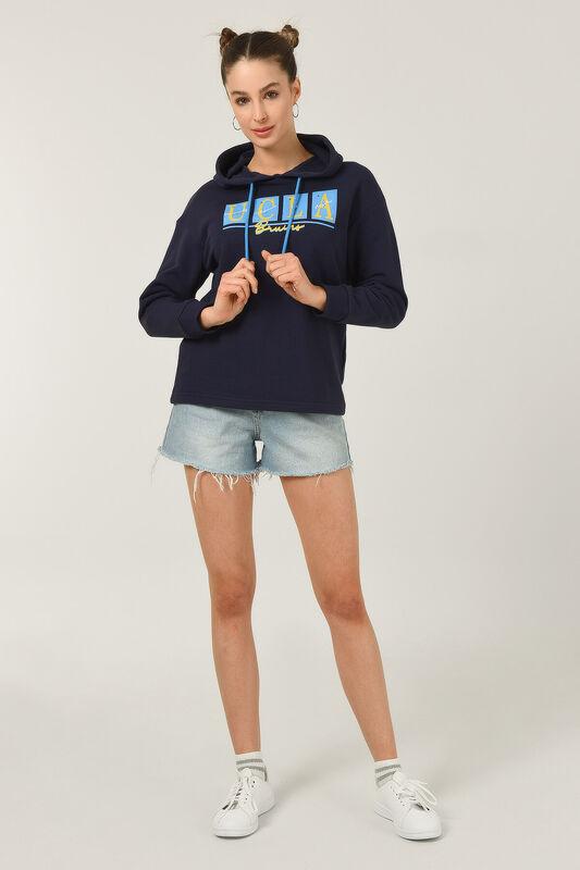 APPLE Lacivert Oversize Kapüşonlu Baskılı Kadın Sweatshirt - Thumbnail