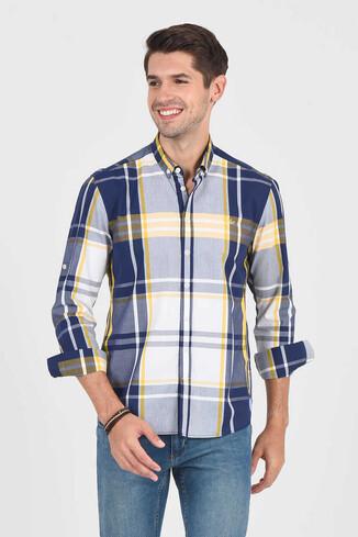 UCLA - APROS Sarı Kareli Erkek Gömlek