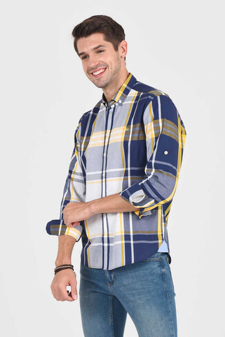 UCLA - APROS Sarı Kareli Erkek Gömlek (1)
