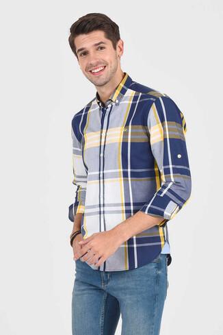 APROS Sarı Kareli Erkek Gömlek - Thumbnail (2)
