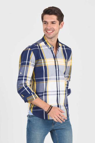 APROS Sarı Kareli Erkek Gömlek - Thumbnail (3)