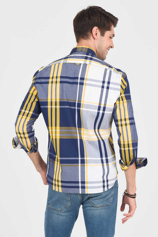 APROS Sarı Kareli Erkek Gömlek - Thumbnail (4)