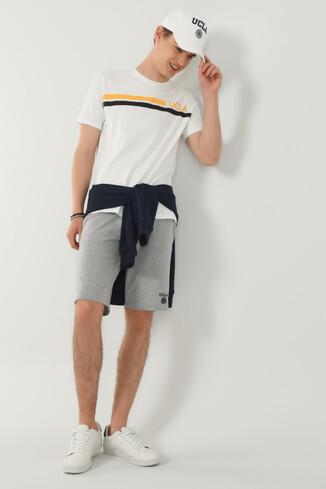 UCLA - APTOS Beyaz Bisiklet Yaka Baskılı Erkek T-shirt