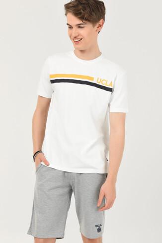 UCLA - APTOS Beyaz Bisiklet Yaka Baskılı Erkek T-shirt (1)