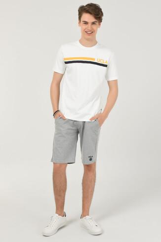 APTOS Beyaz Bisiklet Yaka Baskılı Erkek T-shirt - Thumbnail (3)