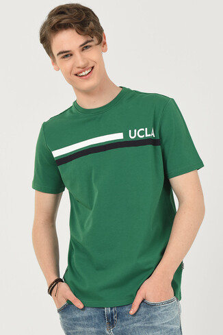 UCLA - APTOS Yeşil Bisiklet Yaka Baskılı Erkek T-shirt