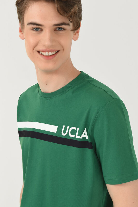 APTOS Yeşil Bisiklet Yaka Baskılı Erkek T-shirt - Thumbnail