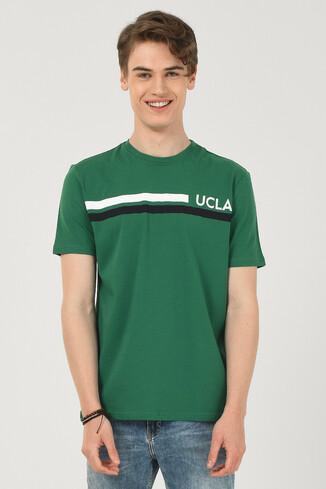 APTOS Yeşil Bisiklet Yaka Baskılı Erkek T-shirt - Thumbnail (2)