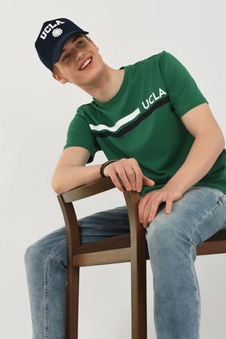 APTOS Yeşil Bisiklet Yaka Baskılı Erkek T-shirt - Thumbnail (4)