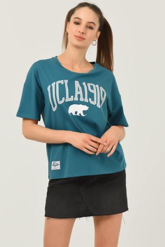 UCLA - ARCATA Mavi Oversize Bisiklet Yaka Baskılı Kadın T-shirt