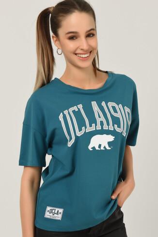 UCLA - ARCATA Mavi Oversize Bisiklet Yaka Baskılı Kadın T-shirt (1)