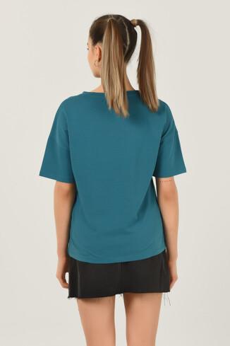 ARCATA Mavi Oversize Bisiklet Yaka Baskılı Kadın T-shirt - Thumbnail (3)