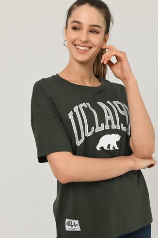 UCLA - ARCATA Yeşil Oversize Bisiklet Yaka Baskılı Kadın T-shirt