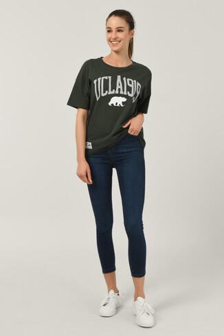 UCLA - ARCATA Yeşil Oversize Bisiklet Yaka Baskılı Kadın T-shirt (1)