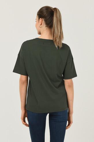 ARCATA Yeşil Oversize Bisiklet Yaka Baskılı Kadın T-shirt - Thumbnail (4)