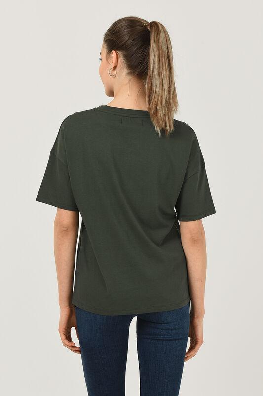 ARCATA Yeşil Oversize Bisiklet Yaka Baskılı Kadın T-shirt - Thumbnail