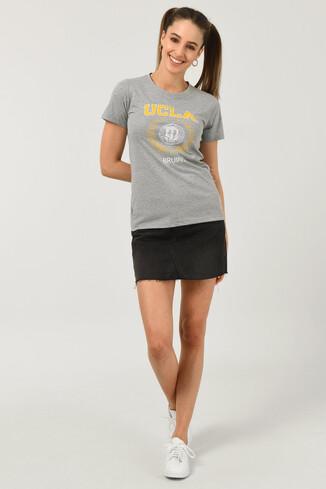 ARTESIA Gri Bisiklet Yaka Kadın T-shirt - Thumbnail (2)